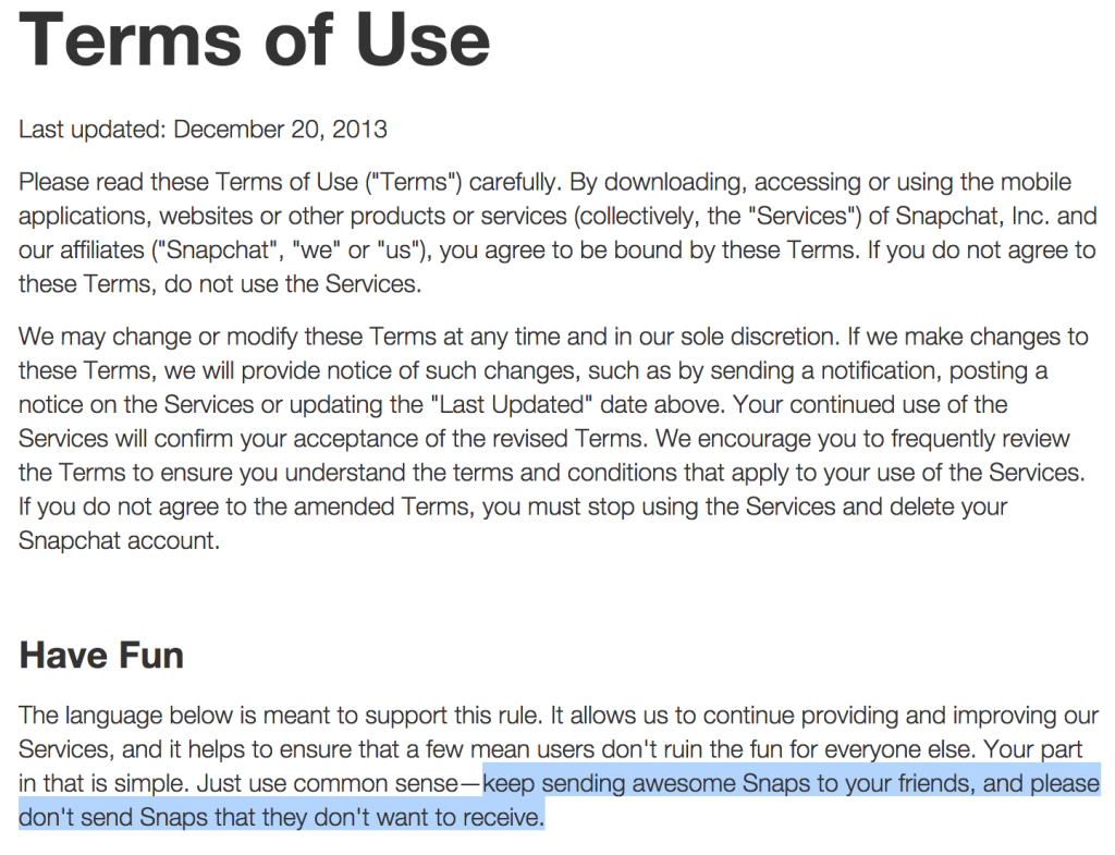 Snapchat terms and conditions