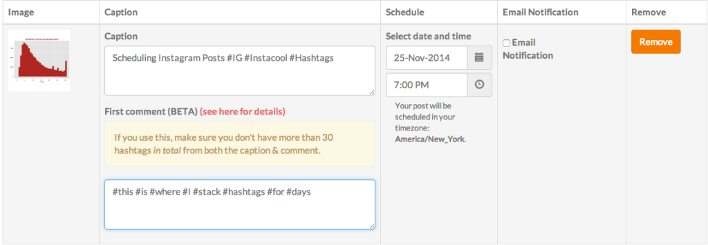 scheduling instagram photos