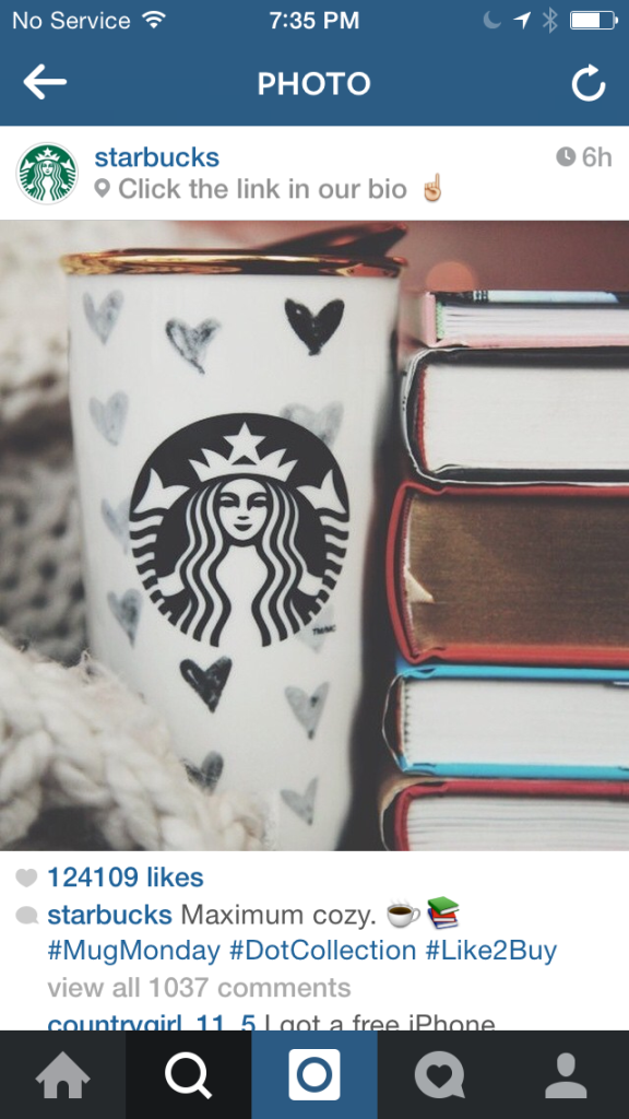 starbucks instagram cta