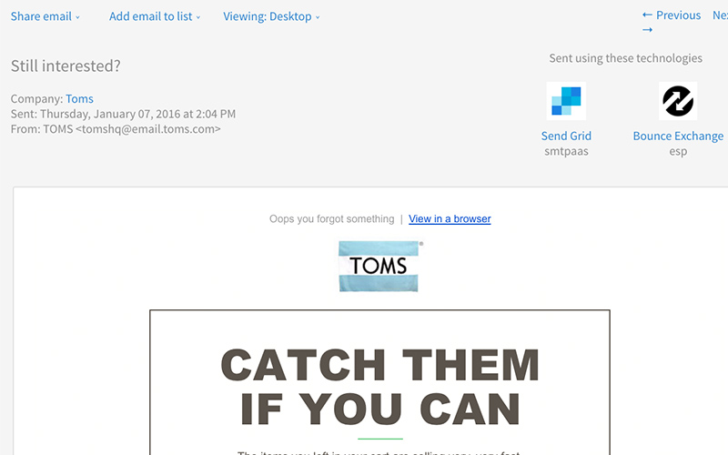 toms cart abandonment email example